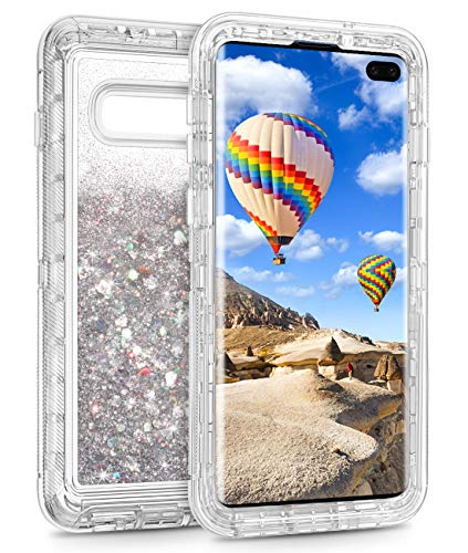 Coolden Case for Galaxy S10 Plus Cases Protective Glitter Case for Women Girls Cute Bling Sparkle Quicksand Heavy Duty Cover Hard Shell Shockproof TPU Case for Samsung Galaxy S10 Plus, Silver