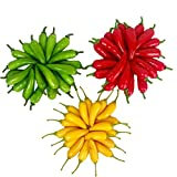 Lorigun 60Pcs Artificial Little Chili Simulation Pepper Mini Three-Colour (Red + Yellow + Green) Small Hot Pepper Lifelike Fake Vegetable Home Decor Each Color 20Pcs