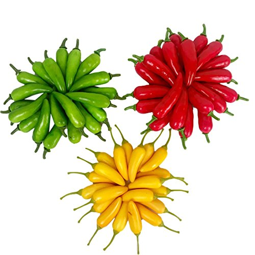 Lorigun 60Pcs Artificial Little Chili Simulation Pepper Mini Three-Colour (Red + Yellow + Green) Small Hot Pepper Lifelike Fake Vegetable Home Decor Each Color 20Pcs ()