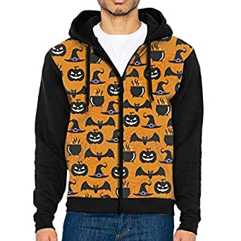 LUANSH Funny Halloween Pumpkin Ghost 3d Raglan Hoodie Zipper Pockets Color Block Sweater 90s For Men