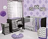 Bacati Ikat Chevron Muslin 10 Piece Crib Set with 2 Sheets, Purple/Grey