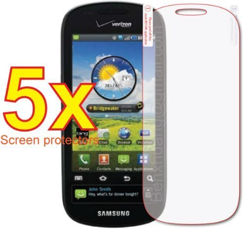 5x Samsung Continuum SCH-i400 Smart Phone Premium Clear LCD Screen Protector Cover Guard Film Kit, no cutting is required