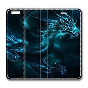 iPhone 6 Case, Fashion Protective PU Leather Slim Flip Case [Stand Feature] Cover for New Apple iPhone 6(4.7 inch) - Cyan Dragon by mcsharks