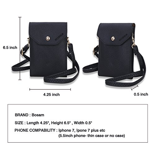 Bosam Cute Candy Colors Crossbody Cell Phone Purse Small Woman Bag Wallet  for Smartphones Under 5.5inch(Black) a67afd8e52677
