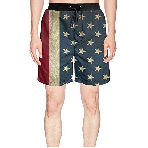 Juliuse Marthar Men's American Flag Backgrounds Fashion Swimming Trunks Short Quick Dry Summer Short ()