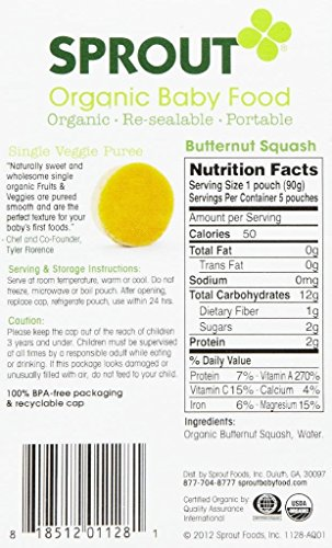 Sprout Starter Organic Baby Food, Butternut Squash, 3.17-Ounce (Pack of 5)