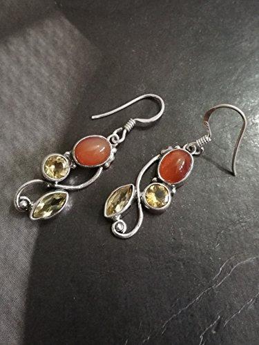 - Carnelian & Citrine Earrings, 925 Sterling Silver, Multi Stone Dangle Earrings, Long Earrings, Choice of Meaning, Good Luck Earrings, Intention Earrings, Meaningful Earrings, Boho Earrings, Gift Her