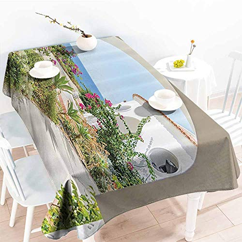 (Wrinkle Resistant Tablecloth Mediterranean Tuscan Island Decor Collection Flowers Garden Old Architectural Chic House Ancient Explorer Scenery Excellent Durability W70 xL84)