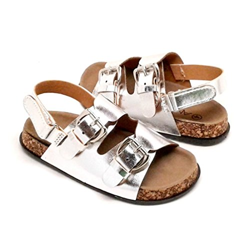 Bella Marie Toddler Black Sandals with Buckle Design and Hook and Loop Strap (6, Silver Metallic)