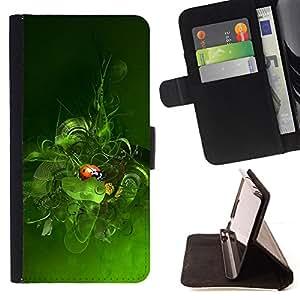 - LEAVES GREEN SPRING NATURE LADYBUG - - Prima caja de la PU billetera de cuero con ranuras para tarjetas, efectivo desmontable correa para l Funny HouseFOR Samsung Galaxy S6