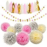 Tissue Pom Poms Paper flowers Tissue Tassel Paper Garland Pink Cream Glitter Gold Kit 23 Pcs for Baby Shower Bridal Shower Baby First Birthday Decorations