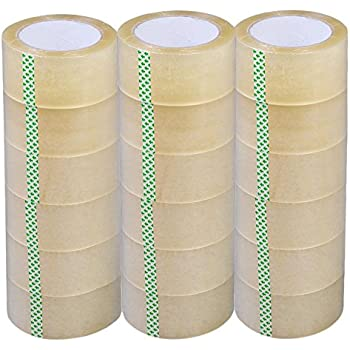"Packing Tape Adhesive Clear PVC Roll for Moving Shipping and Packaging Boxes by Royal Imports, 2.0 Mil (2""w x 110 YD/330'), 6 Rolls 30%OFF"