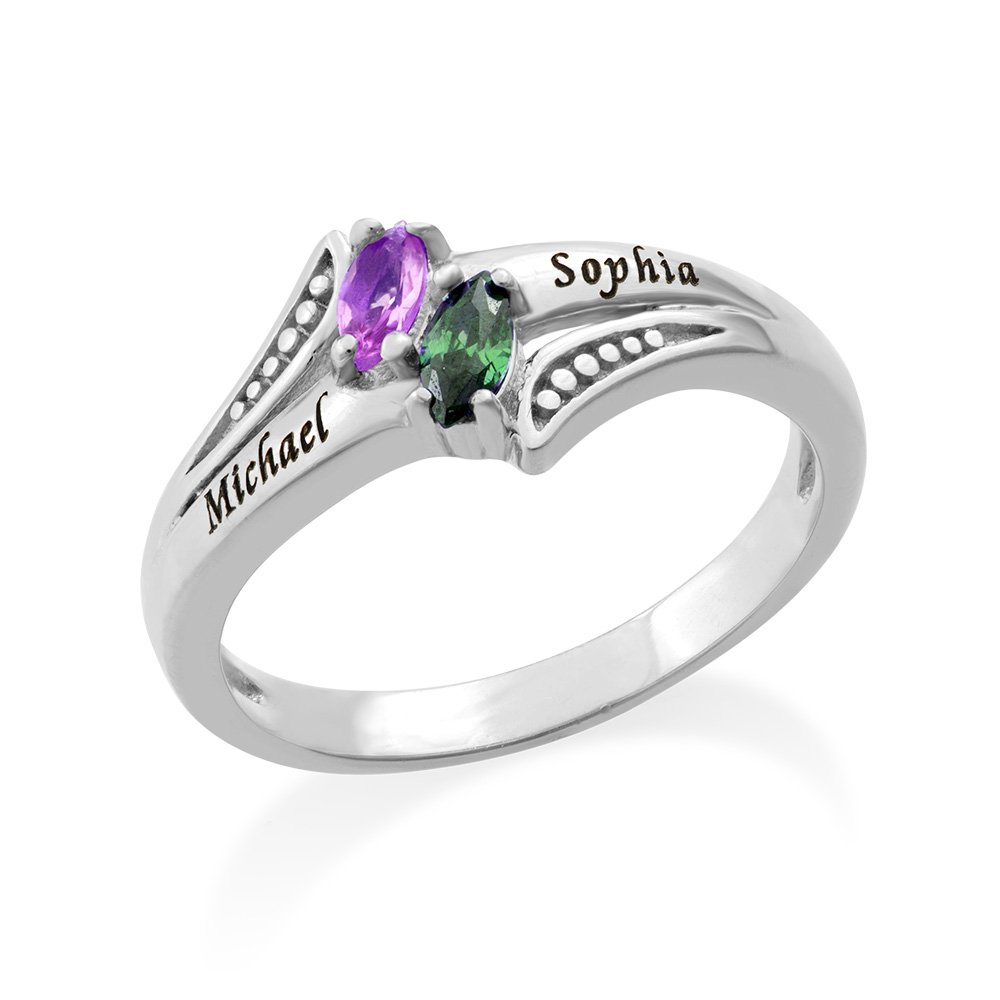 Personalized Birthstone Promise Ring Couple in Silver - Engraved with Name Split Band Ring with Stones Custom Personalized Jewelry 110-05-1239-02