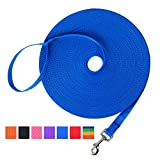 Hi Kiss Dog/Puppy Obedience Recall Training Agility Lead - 15ft 20ft 30ft 50ft 100ft Training Leash - Great for Training, Play, Camping, or Backyard Blue 20 Feet