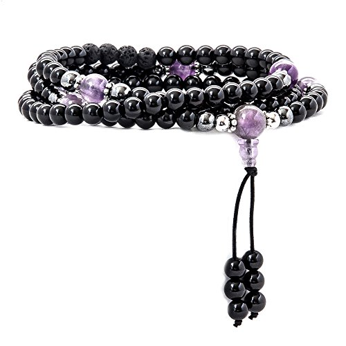 Mala Beads - Tibetan Mala Necklace - Buddhist Prayer Beaded Bracelet - 108 Semi Precious Gemstones Jewelry with Tassel for Mantra and Meditation - Yoga - Reiki - Chakras - Multilayer Wrap (Tibetan Onyx)