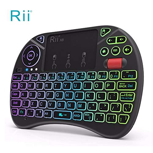 637a73af90d Rii X8 LED Colorful Backlit 2.4 GHz Wireless Keyboard Air Mouse with Touch  Pad for Google Android TV Box, Mini PC: Amazon.in: Electronics