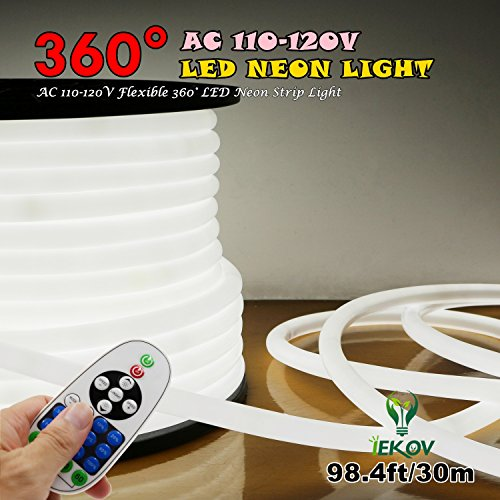 [UPGRADE] 360° LED NEON LIGHT, IEKOV™ AC 110-120V Flexible 360 Degree LED Neon Strip Lights, Dimmable & Waterproof NEON LED Rope Light + Remote Controller for Decoration (98.4ft/30m, White) by IEKOV