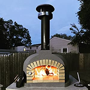 14. PRC Outdoor Pizza Oven, Wood Fired, Insulated, w/ Brick Arch & Chimney