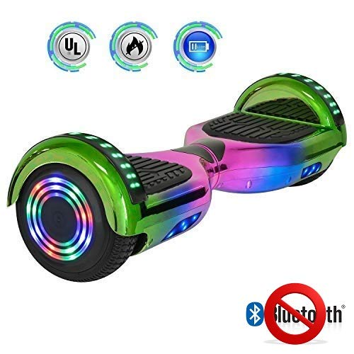 NHT 6.5 inch Aurora Hoverboard Self Balancing Scooter with Colorful LED Wheels and Lights - UL2272 Certified [Built-in Bluetooth Speaker on Select Models] (Rainbow-4 (No Bluetooth)