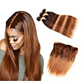 Brazilian Straight Human Hair Bundles with Frontal Closure, Two Tone T4/30 Ombre Hair Medium Brown/Medium Auburn, 18 20 22 with 14