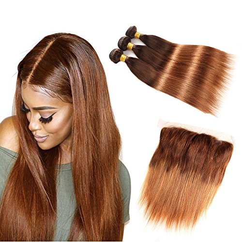 Brazilian Straight Human Hair Bundles with Frontal Closure, Two Tone T4/30 Ombre Hair Medium Brown/Medium Auburn, 18 20 22 with 14 by ELEE'S HAIR