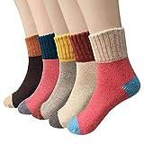 Women Wool Socks Winter Casual Comfortable Warm Multicolor Socks Set 5 Pairs