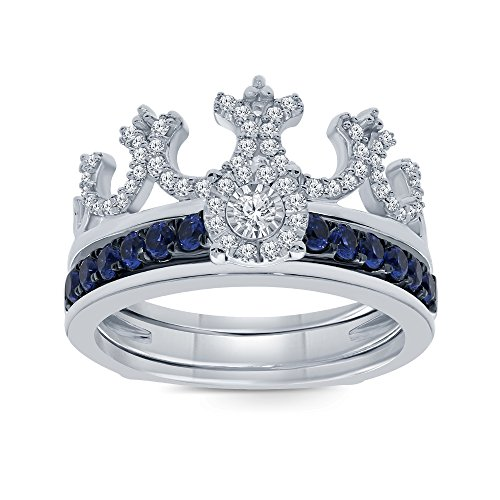 (7/8 ct Round Natural White Diamond Blue Sapphire Sterling Silver Insert Crown Ring Engagement Wedding Ring)
