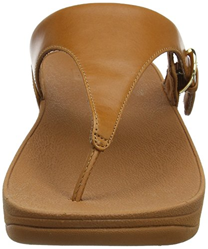 Fitflop Caramel Sandals Skinny Aperta Punta Marrone Donna Thong Leather 098 Toe Sandali rwpqHr7