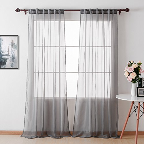 Sheer Gauze - Deconovo Home Decorations Sheer Curtains Voile Curtain Panels Tulle Curtains Back Tab and Rod Pocket Curtains Gauze Curtains for Office 52 W x 95 L Inch Grey 2 Panels