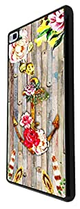 308 - Floral shabby chic Anchor Roses Wood background Design For Huawei Ascend P7 Mini Fashion Trend CASE Back COVER Plastic&Thin Metal - Black