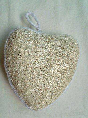 Cute Luffa Sponge Skin Scrubber (Heart Shape) - shower, bath, beauty, skin care, spa. (Local Spa World)