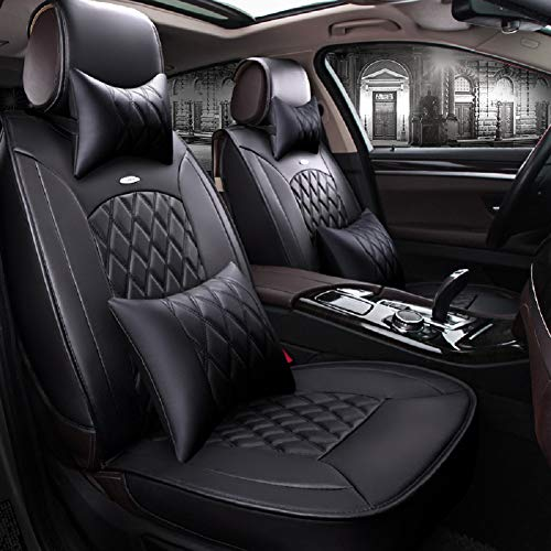 (Skysep Black Full Set Universal Fit 5 Seats Car Surrounded Solid Color Waterproof Leather Car Seat Covers Protector Adjustable Removable Auto Seat Cushions with 2 Waist Pillows 2 Headrest Pillows)