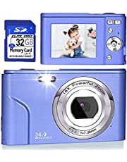 Digital Camera, FHD 1080P 36.0 MP Vlogging Camera Rechargeable Mini Camera Kids Camera Pocket Camera with 32GB SD Card 16X Digital Zoom, Compact Portable Camera for Kids Students Teenager-Purple photo