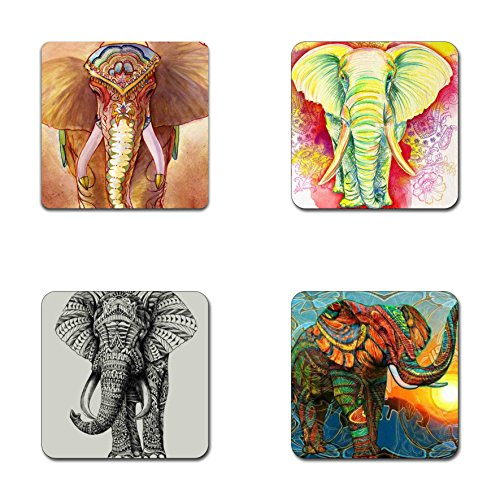 Elephant pattern square coaster set - Made of recycled rubber - set of 4