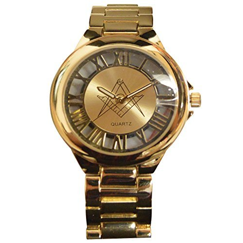 Gold Masonic Stainless Steel Link Band Square and Compass Analog Wrist Watch Stainless Steel Masonic Watch