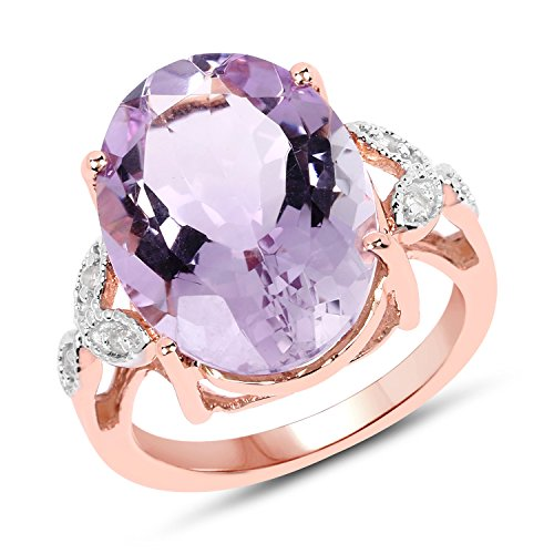 Huang and Co. 18K Rose Gold Plated 9.49 Carat Genuine Pink Amethyst and White Topaz .925 Sterling Silver Ring