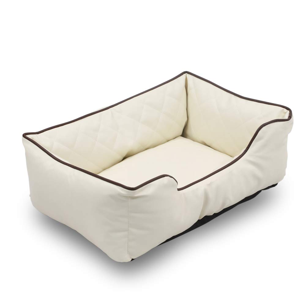 HappyCare Textiles Luxury All Sides Faux leather Rectangle Pet Bed. Beige color, Large 31x23 inches