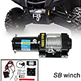 VIOJI 3500lb / 1517kg Capacity 12V Electric Recovery Waterproof Winch With Wired Switch & Wireless Remote for UTV ATV Boat Trailer Ranger