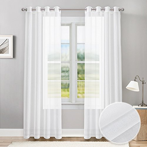 PONY DANCE White Sheer Curtains 84 inches Long Elegant Voile Curtain Draperies Gauze Grommet Top Faux Linen Textured for Living Room Patio Sliding Doors, 55