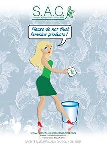 Do Not Flush Bathroom Sign plus free sanitary napkin disposal bags