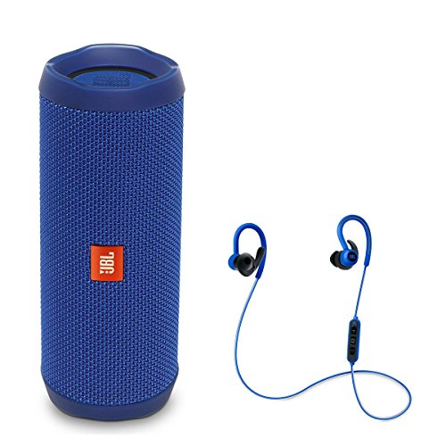 JBL Flip 4 Portable Waterproof Bluetooth Speaker with Reflect Contour Wireless Bluetooth In-Ear Headphones (Blue)