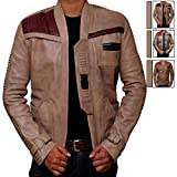 Finn Star Wars Costume Jacket - Real Biker Distressed Leather Jacket Men