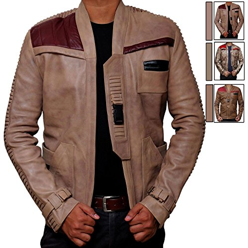 Star Wars Poe Dameron Jacket - Finn Costume Jacket (L, Antique Beige)
