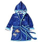 MITIAO Unisex Kids Cartoon Long Sleeve Hooded Bathrobe Blue Goldfish 90CM
