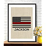 Boston Creative company Thin Red Line Flag - Personalized Firefighters Gift - American Flag - Burlap Print - Stars and Stripes - Retirement Gift - Firefighters Gift - Fireman Gift #B_PRINT_18
