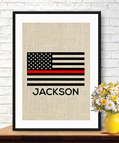 Thin Red Line Flag - Personalized Firefighters Gift - American Flag - Burlap Print - Stars and Stripes - Retirement Gift - Firefighters Gift - Fireman Gift #B_PRINT_18