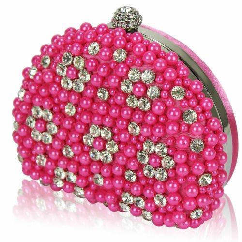 TrendStar Mujeres Perla perlado falso diamante embrague bolsa Bal de Promo de los partes boda de bolso Rosa