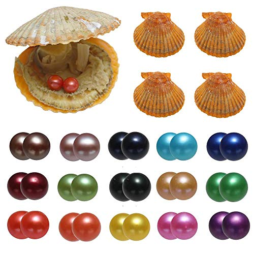 (15PC Akoya Saltwater Twins Pearls Oysters, Cultured Love Wish Oysters with 30 Pearls Inside Red Round Pearl with Mixed Color (7-8mm))
