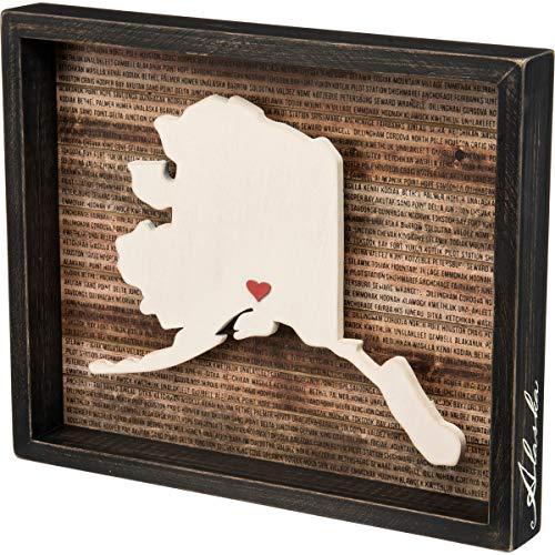 "Primitives by Kathy State Pride Box Sign, 15"" x 12.25"", Alaska"