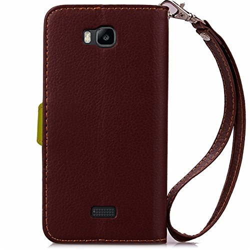 YAJIE-Carcasa Funda Para Huawei Honor Bee / Huawei Y5C Case, Nature Leaf Cierre magnético PU Leather Wallet Flip Case Cover ( Color : Rose ) Brown